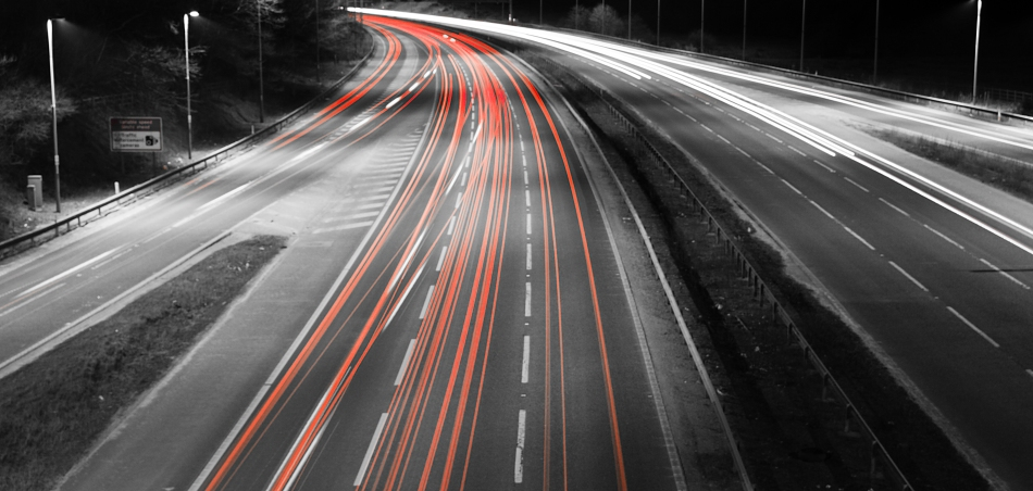 Car trails (black and white)
