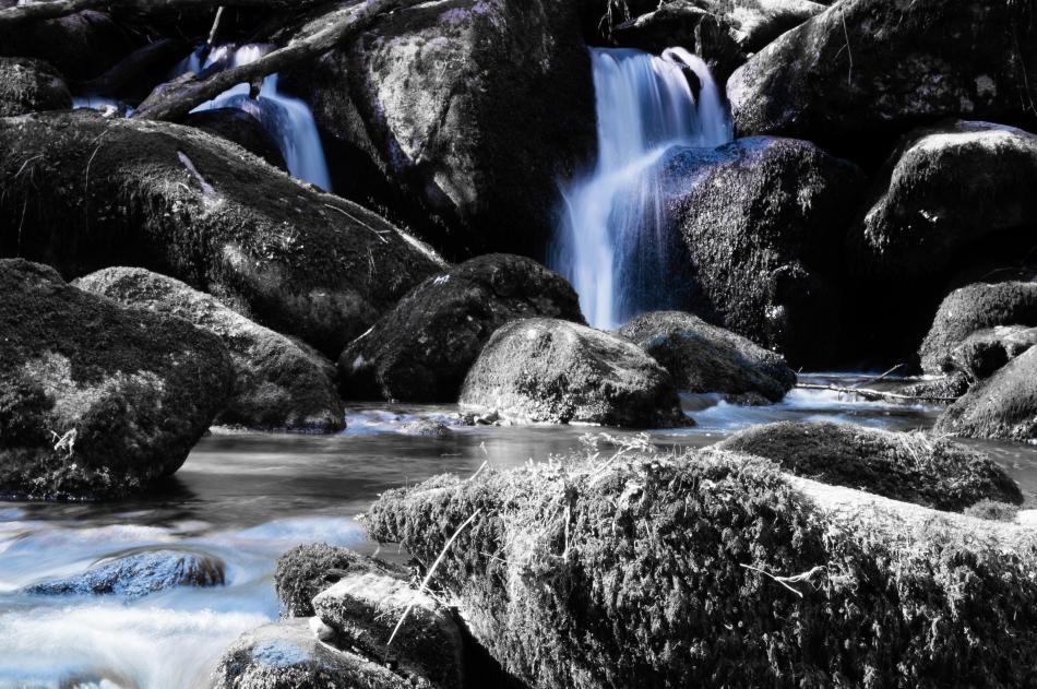 Waterfall (b&w + water colour)